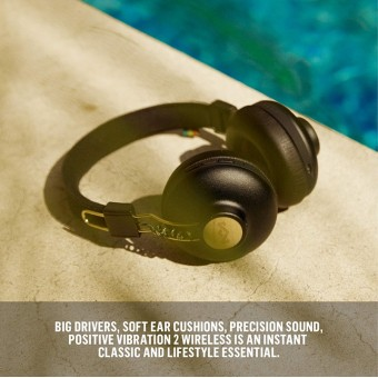 Casti bluetooth on ear Marley Positive Vibration BT Rasta, microfon, cablu 3.5 mm,  10 ore redare EM-JH133-RA