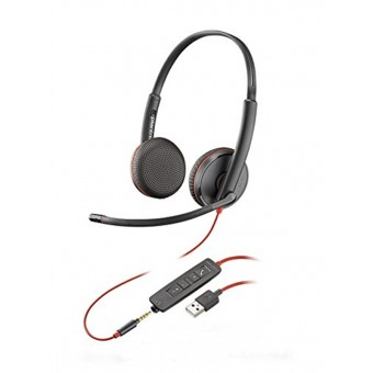 Casca Call Center Plantronics BLACKWIRE 3225, USB-A si jack 3.5mm, Stereo (209747-101)