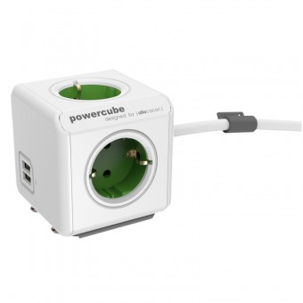 Prelungitor PowerCube Allocacoc  Extended USB 1402GN, 1.5 metri, Green