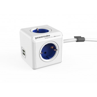 Prelungitor PowerCube Allocacoc  Extended USB 1402BL, 1.5 metri, Blue