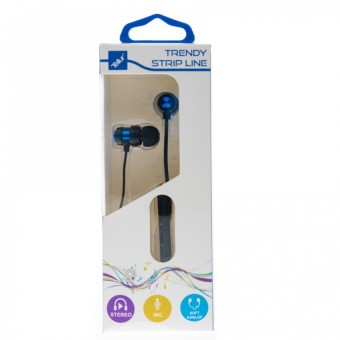 Casti In-Ear Tellur Trandy Strip Line, cu Fir,  Albastru