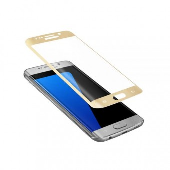 Folie de protectie Tempered glass 3D Tellur pentru Samsung S6 Edge Plus, Margini curbate, Gold